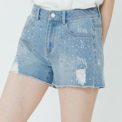 H:CONNECT 韓國品牌 女裝-造型磨破牛仔短褲-藍