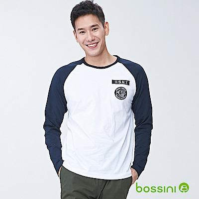 bossini男裝-圓領長袖上衣02白