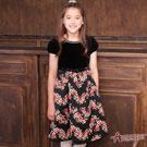 Annys高級宮廷華麗印花公主袖洋裝*6215黑
