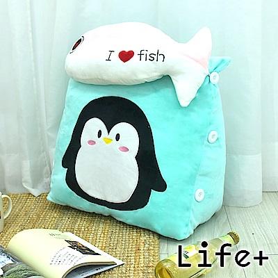 Life Plus 萌趣造型舒壓絨毛萬用靠枕/抱枕/腰靠枕(企鵝)