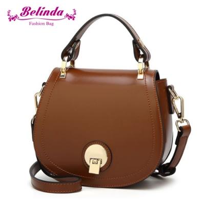 【Belinda】貝芙爾馬鞍圓扣手提側背包(棕色)