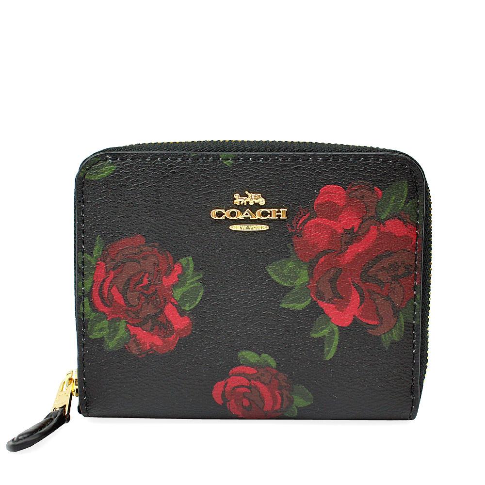 COACH  金馬車玫瑰花防刮皮革零錢拉鏈短夾(黑色)COACH