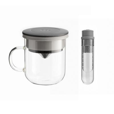 【PO:Selected】丹麥咖啡泡茶兩件組 (咖啡玻璃杯350ml-黑灰/試管茶格-灰)