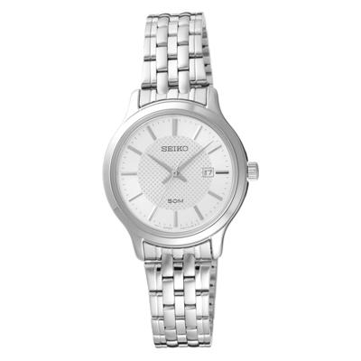 SEIKO夏日點點時尚女腕錶-銀X白(SUR653P1)/30mm
