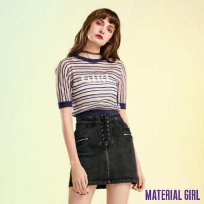 MATERIAL GIRL 短版針織印花薄上衣-貼身短版微透膚設計 【91410】