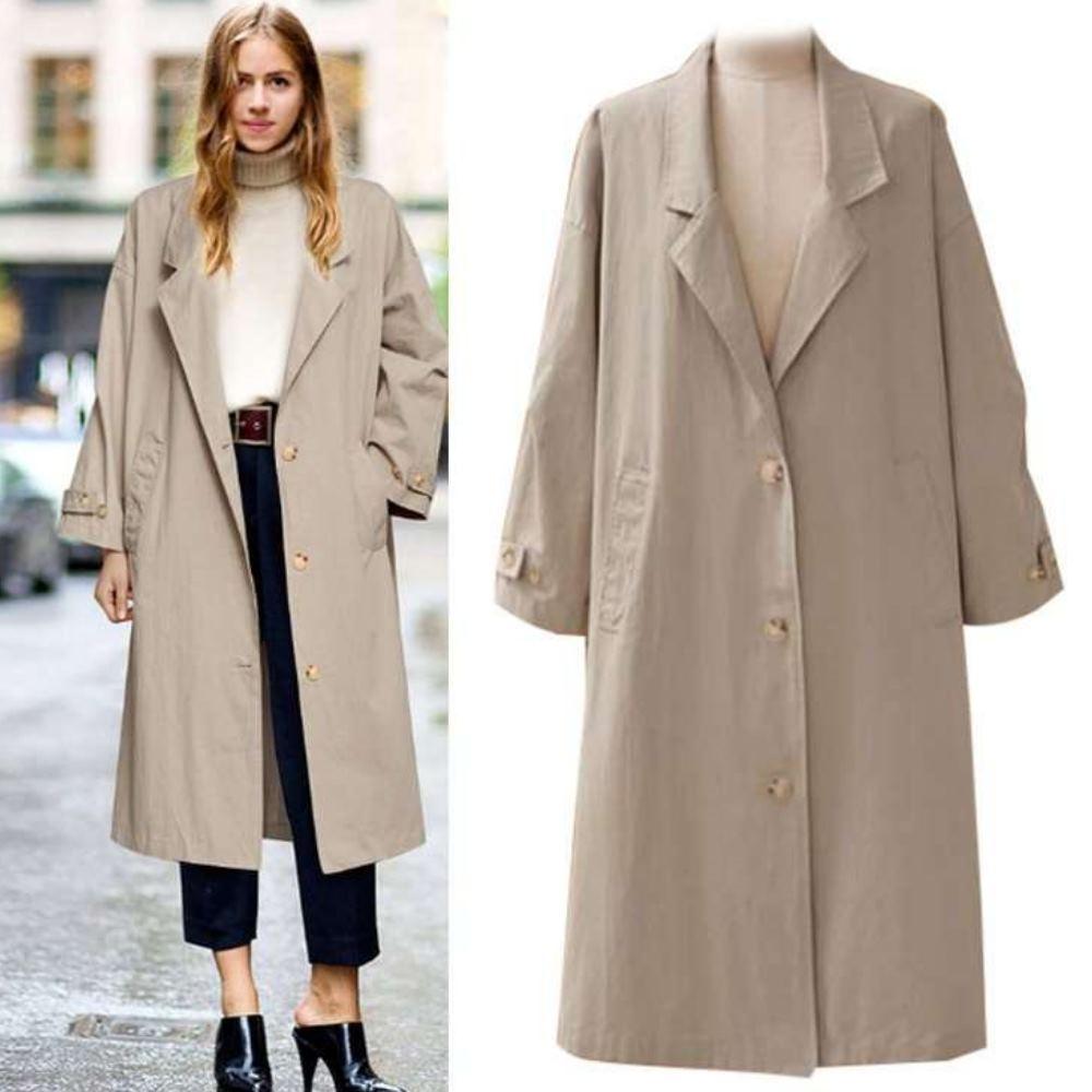 MOCO蜜絲絨大翻領西裝領側口袋袖釦長版排釦(薄款風衣外套)M~2XL
