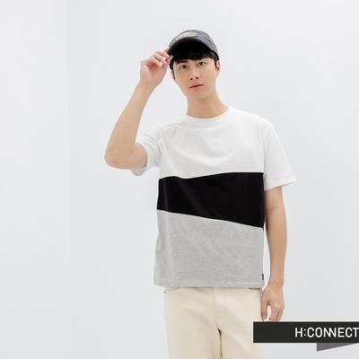 H:CONNECT 韓國品牌 男裝-圓領色塊拼接T-SHIRT