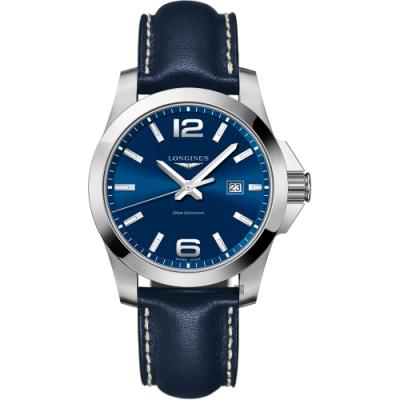 LONGINES浪琴 Conquest 300米石英手錶-藍/43mm L37604960