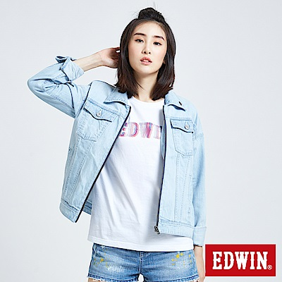 EDWIN 夢想基本刷色 牛仔外套-女-重漂藍
