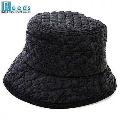 日本NEEDS HOTαあったかキルティング帽子Feel hot可折疊縫布×吸濕發熱刷毛#6839小臉帽(#683982黑/黑;#683999黑/灰)