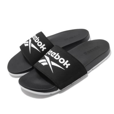 Reebok 涼拖鞋 Comfort Slide 套腳 男女鞋 輕便 舒適 大logo 夏日 情侶穿搭 黑 白 FU7205