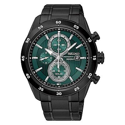 SEIKO 精工 CRITERIA登躍極致太陽能運動腕錶/黑*綠/V176-0AR0G/S