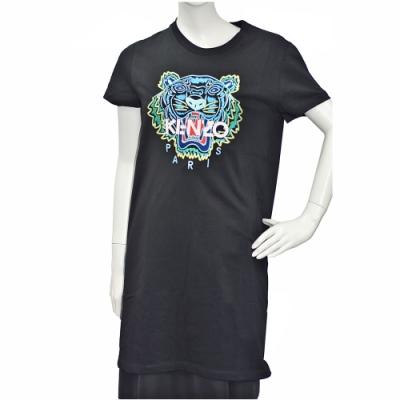 KENZO 老虎標誌印花長版短袖圓領衫(黑)