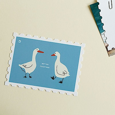 Dailylike 郵票造型卡片信封組-11 一起