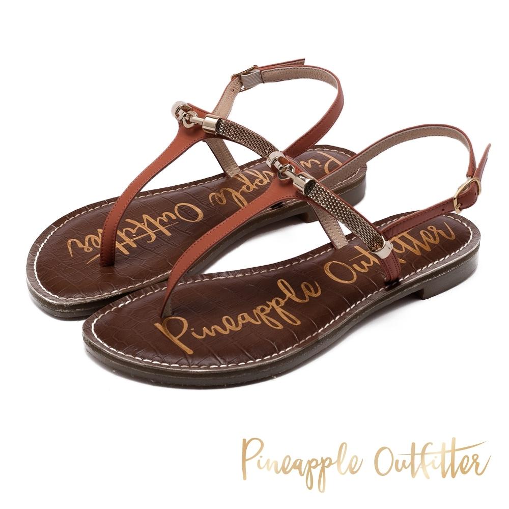 Pineapple Outfitter 真皮復古感金屬環T字帶平底涼鞋-藕色