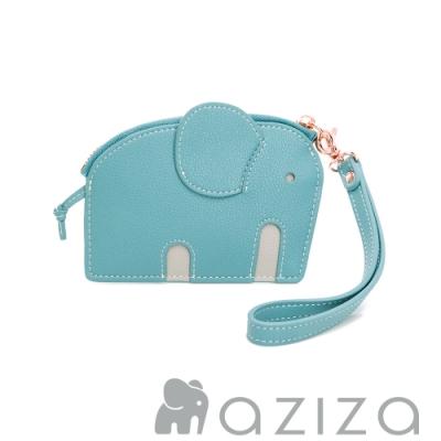 aziza小象造型鑰匙零錢包 松石綠