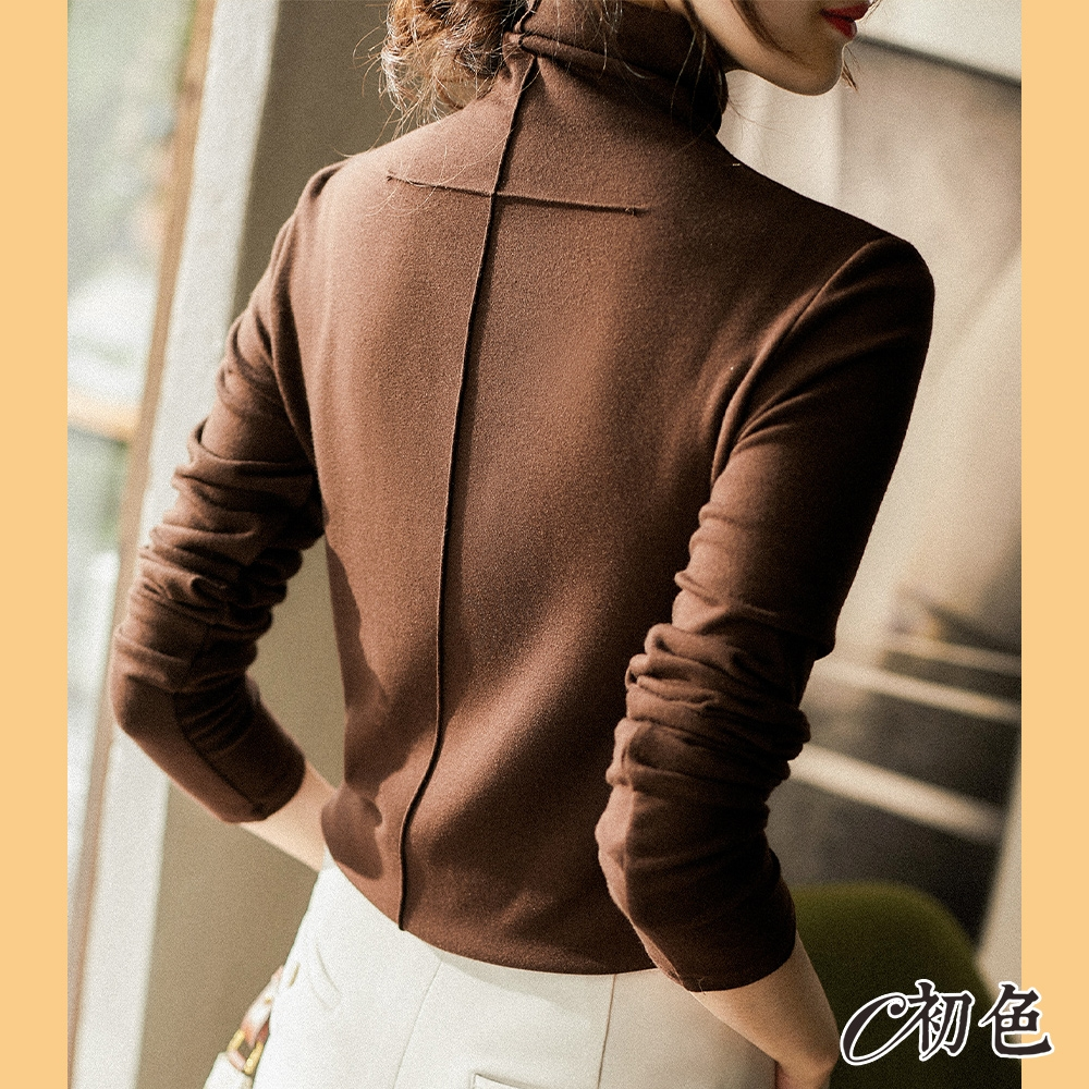 初色  保暖貼身高領上衣-共3色-(M-2XL可選)
