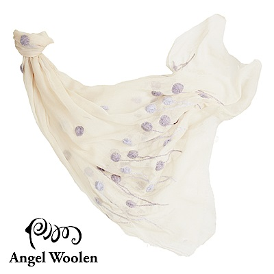 Angel Woolen浦公英之戀印度手工刺繡羊毛披肩-米色