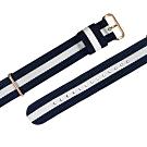 Watchband DW 各品牌通用 鍍玫瑰金不鏽鋼扣頭 尼龍錶帶-藍x白
