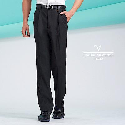 Emilio Valentino經典彈性雙褶長褲_黑(77-8B1022)