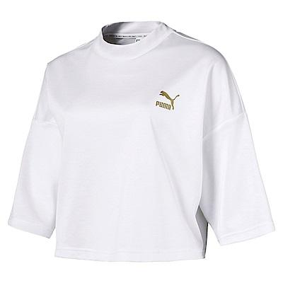 PUMA-女性流行系列Retro短版短袖T恤-白色-亞規