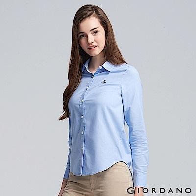 GIORDANO 女裝素色刺繡襯衫-19 藍色