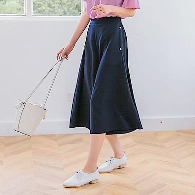 質感優雅素面造型釦七分寬褲-OB嚴選