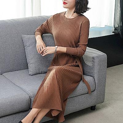 圓領簡約修身針織衫毛衣裙洋裝M~2XL(共三色)-REKO