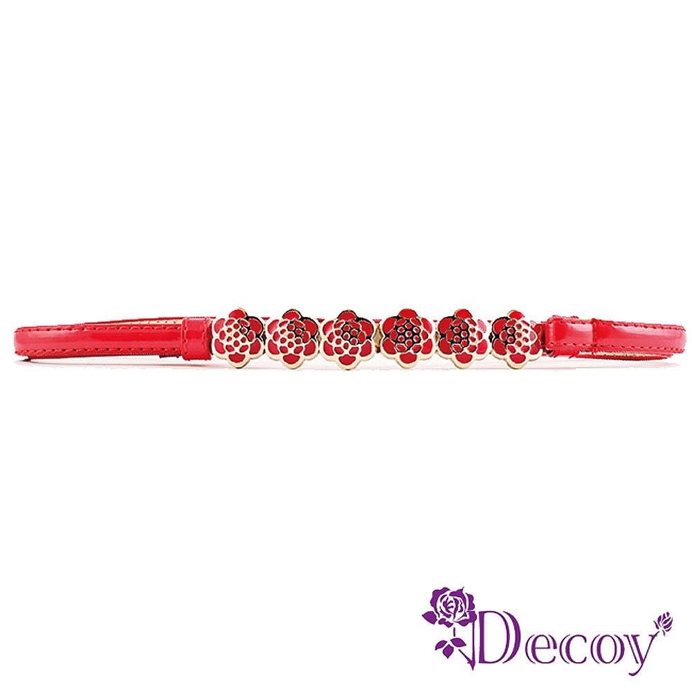 Decoy 玫瑰花環 亮面馬卡龍伸縮細皮帶 多色可選