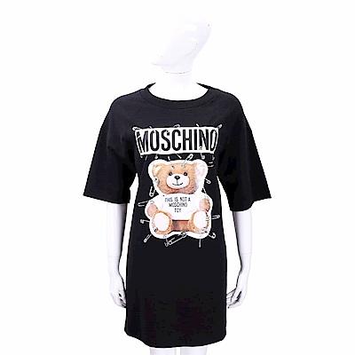 MOSCHINO 別針泰迪熊印花黑色短袖連身裙