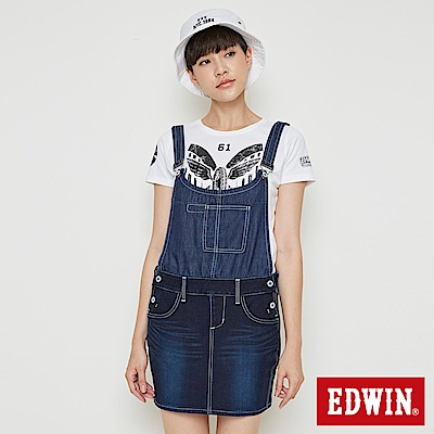 EDWIN 迦績褲JERSEYS 快乾吊帶牛仔短裙-女-原藍磨