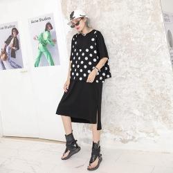 法式波點不規則兩件套長版連身裙-F(共兩色)-CLORI