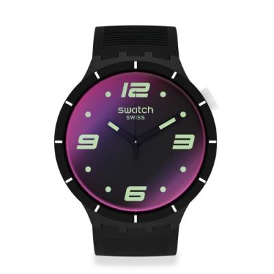 Swatch BIG BOLD系列手錶 FUTURISTIC BLACK 未來主義黑-47mm