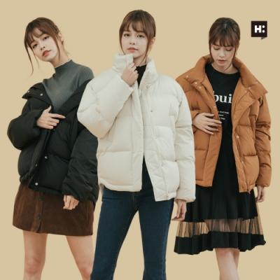[時時樂限定] H:CONNECT- 女裝-立領保暖羽絨外套-三色