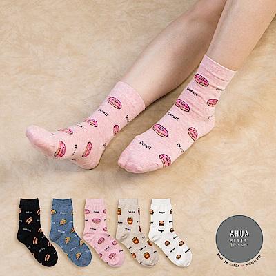 阿華有事嗎 韓國襪子 滿版速食中筒襪  韓妞必備長襪 正韓百搭純棉襪