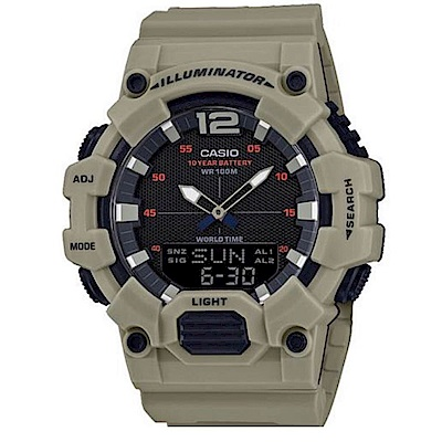 CASIO 經典再現10年電力雙顯電子錶(HDC-700-3A2)/卡其48.8mm