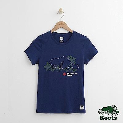Roots -女裝- 連線海狸短袖T恤 - 藍