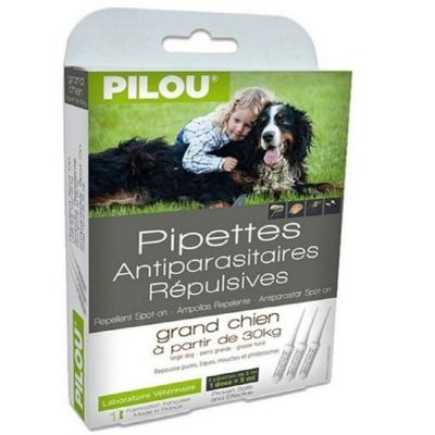 法國皮樂Pilou第二代加強升級-非藥用除蚤蝨滴劑-大型犬用(3支各5ml-16kg以上)