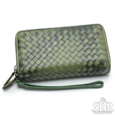 2R 細呢羊皮Double雙層編織長夾 海草綠