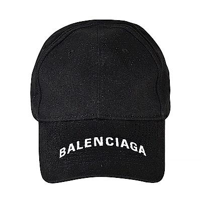 BALENCIAGA巴黎世家經典刺繡LOGO棉質老帽(黑)