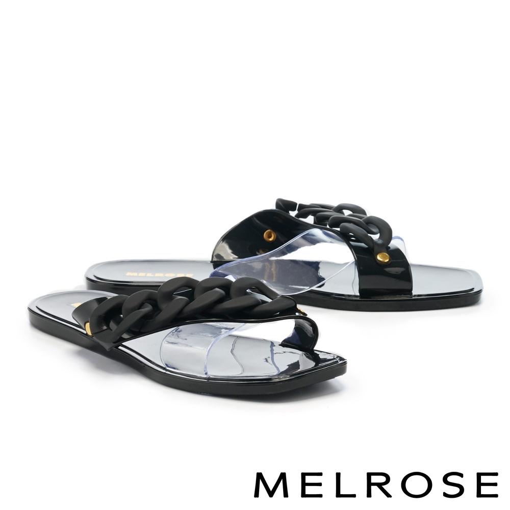 拖鞋 MELROSE 悠閒度假粗鏈條透明片平底拖鞋-黑