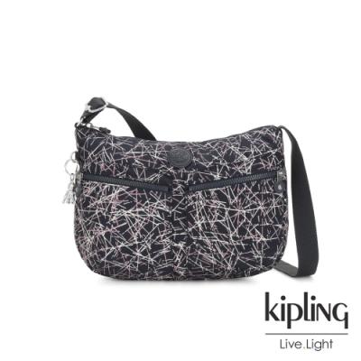 Kipling 英式粉漆塗鴉雙拉鍊前袋肩背包-IZELLAH