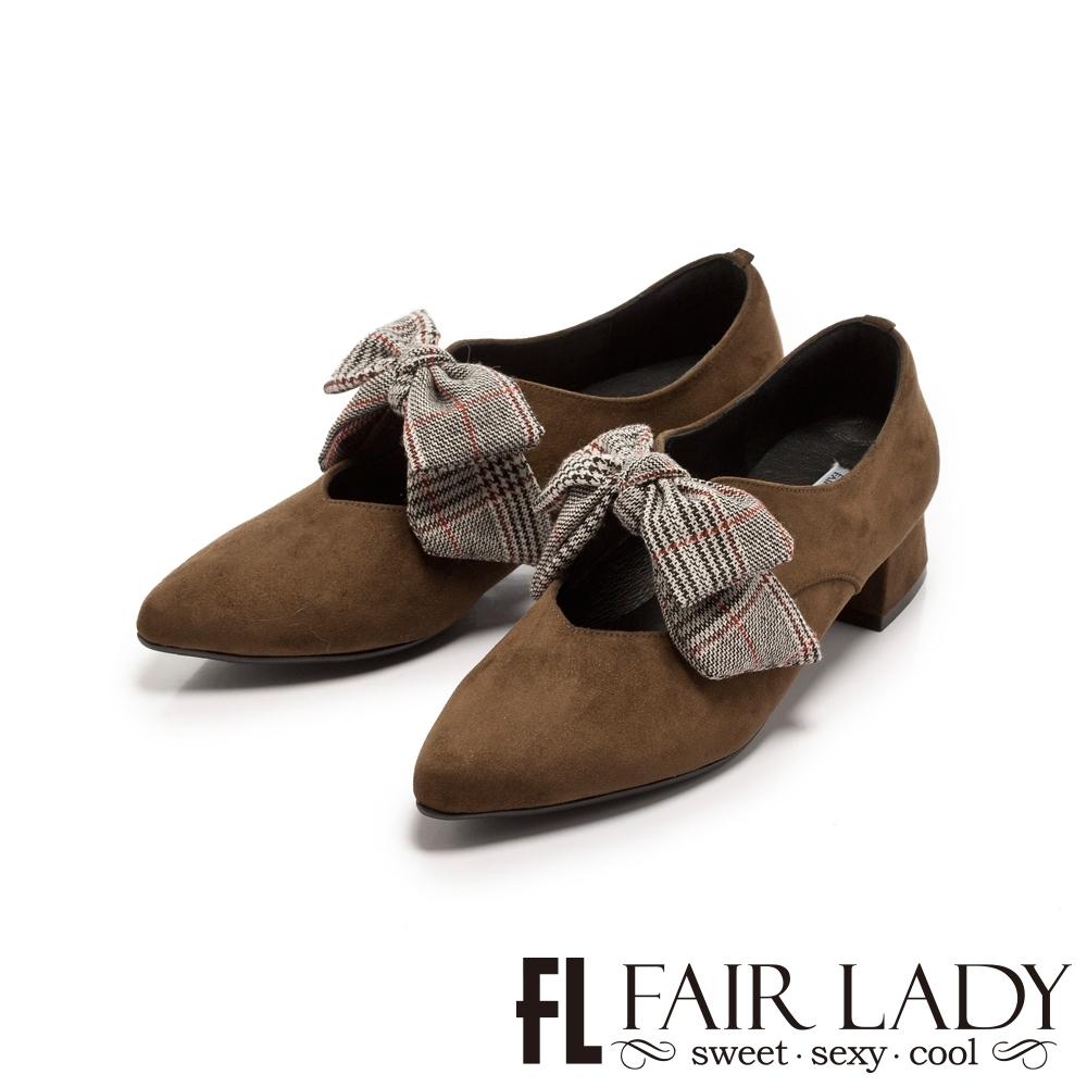 FAIR LADY 格紋蝴蝶結瑪莉珍尖頭低跟鞋 橄欖綠