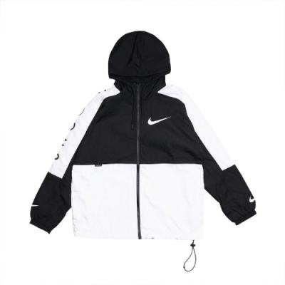 Nike 外套 Swoosh Jacket Woven 男款 NSW 連帽 大勾勾 防風 風衣外套 黑 白 DJ4131010