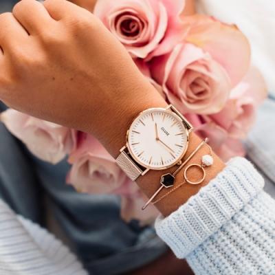 CLUSE La Bohème 波希米亞系列腕錶(金框/白錶面/金色不鏽鋼錶帶) 38mm