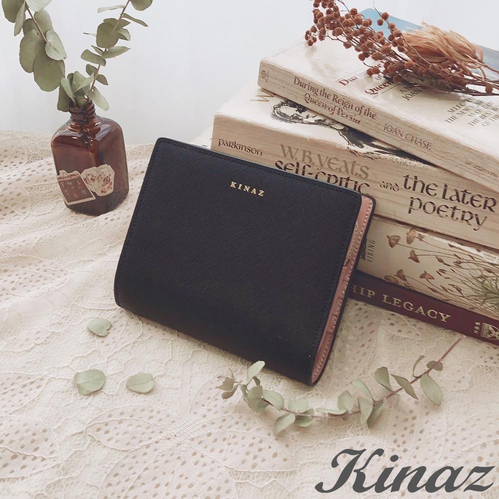 KINAZ 附可拆零錢包防刮紋真皮短夾-午夜黑-糖梅仙子系列