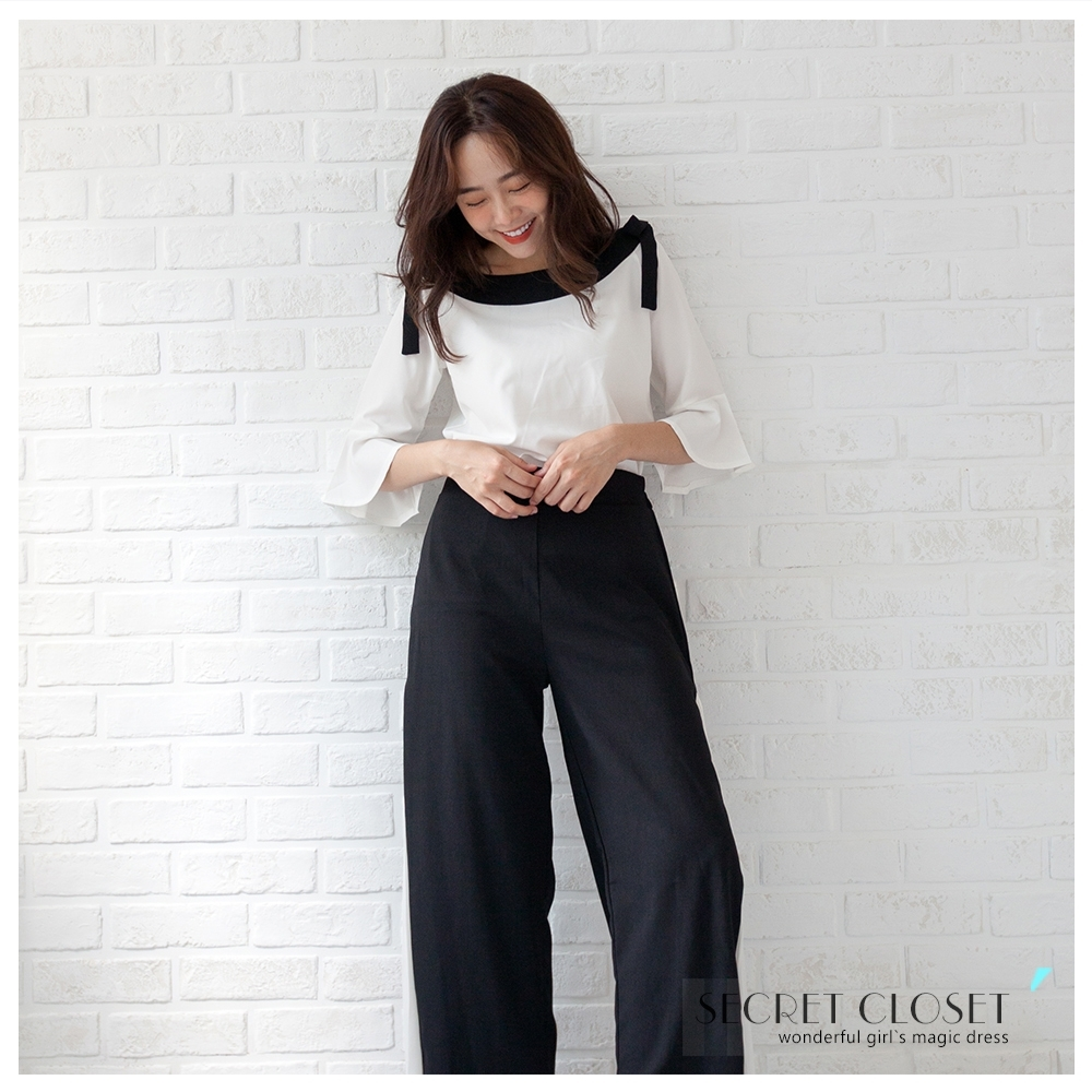 Secret Closet-雪紡闊腿寬褲兩件套組