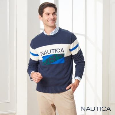 Nautica異材質拼接長袖針織衫-深藍