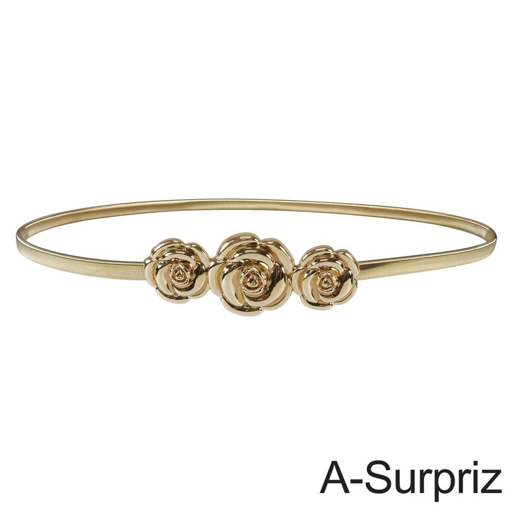 A-Surpriz 玫瑰花金屬彈性腰鍊(金)