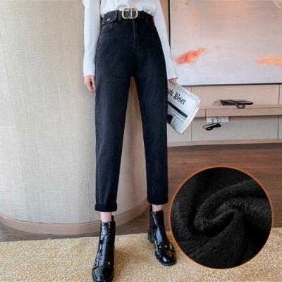 高腰百搭保暖加絨休閒直筒牛仔褲S-XL(共二色)-WHATDAY